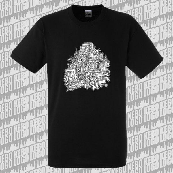 T-shirt noir L'Isle sur la Sorgue, ville du Vaucluse, France
