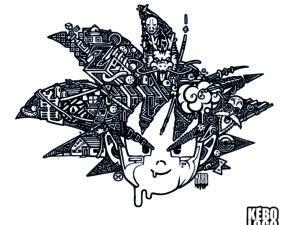 Design goku impression noire sur fond blanc